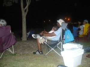 Olen watching fireworks with daddy